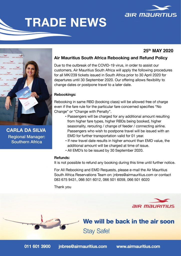 Air Mauritius South Africa rebooking and refund policy 1