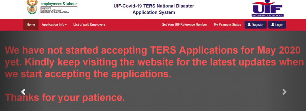 UIF TERS applications for May have not opened yet 1