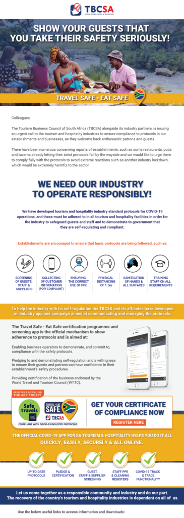 Travel Safe | Eat Safe: We need our industry to operate responsibly 1
