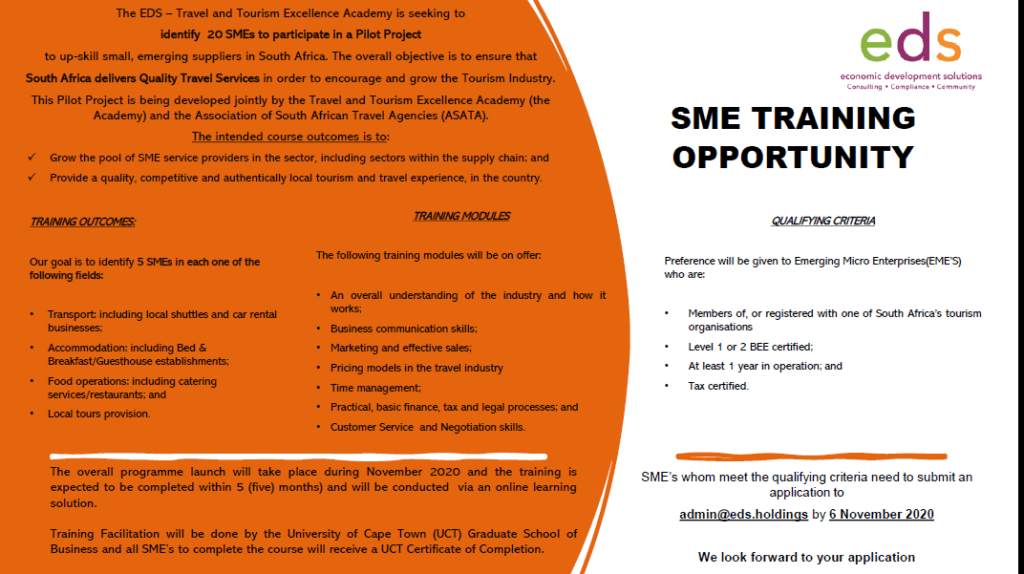 Travel & Tourism SME Training Opportunity 1