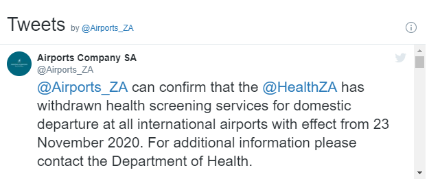 Health screening for domestic departures withdrawn 1