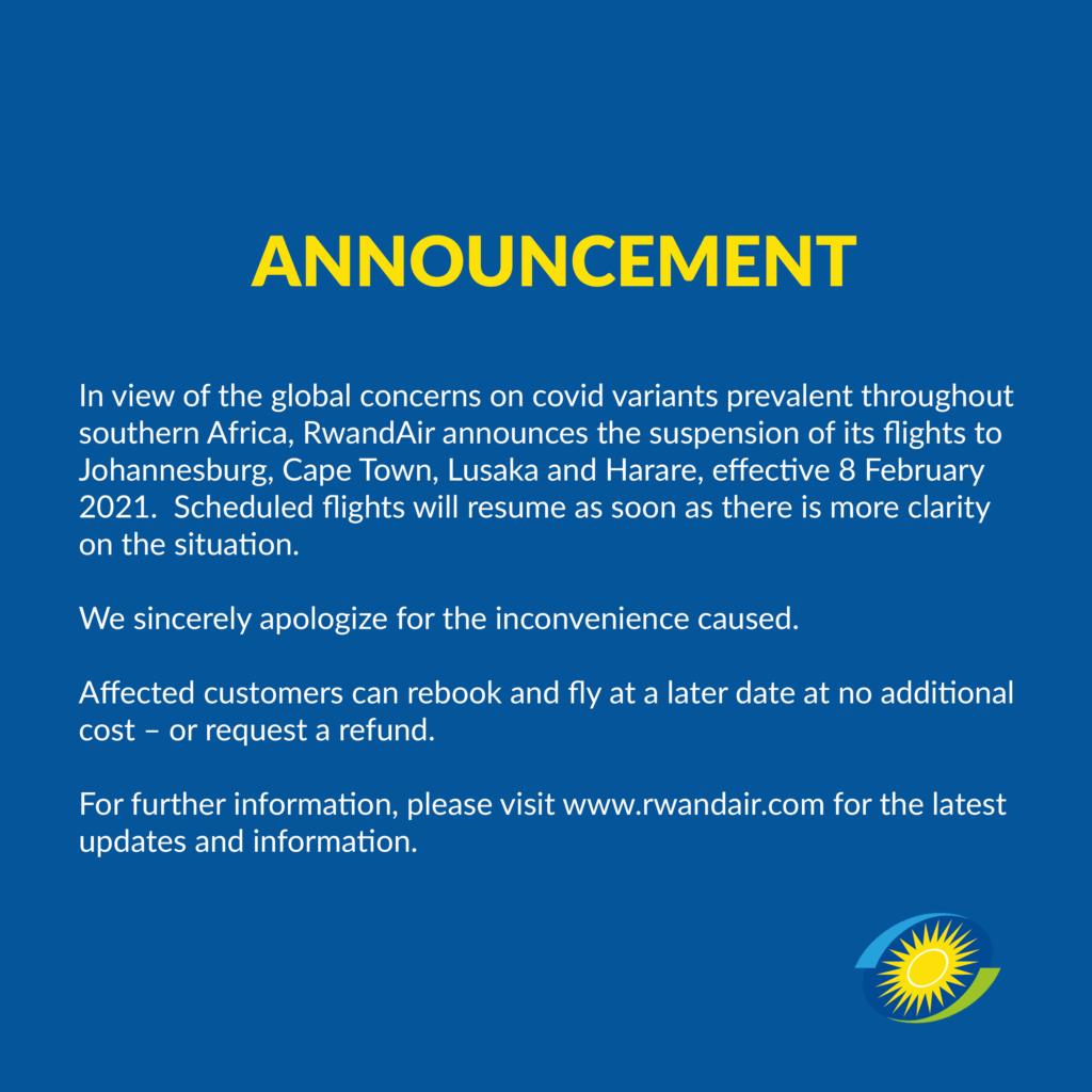 RwandAir temporarily suspends Johannesburg and Cape Town flights 1