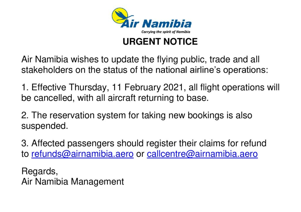 Air Namibia enters into voluntary liquidation 1